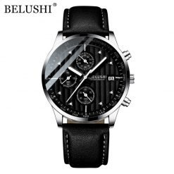 BELUSHI montre bracelet en cuir pour hommes chronographe Sport Quartz tanche lumineuse 1