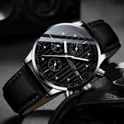 BELUSHI montre bracelet en cuir pour hommes chronographe Sport Quartz tanche lumineuse