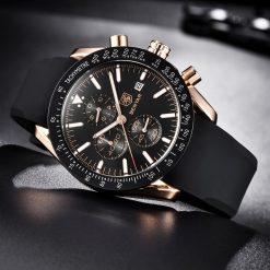BENYAR montres bracelet en cuir pour hommes de luxe bracelet en Silicone et acier chronographe militaire